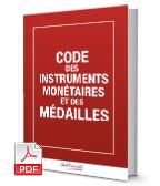Visuel Code des instruments monétaires et des médailles
