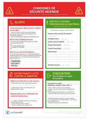 Visuel Consignes de Sécurité Incendie